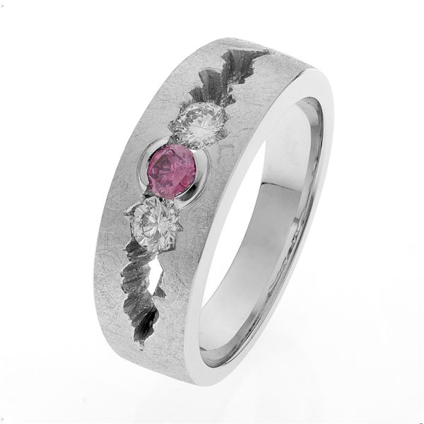 Platinum Band Ring With Pink & White Diamonds