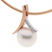 Rose Gold Pendant With Pearl and Diamonds - The Suijin