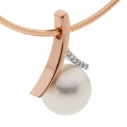 Pearl and Rose Gold Pendant with White Diamonds - The Suijin