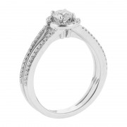 White Gold Diamond Engagement Ring With Halo - The Adele