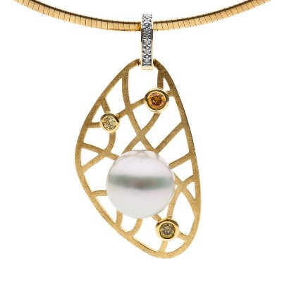 Pearl and Diamond Gold Pendant - After The Rain