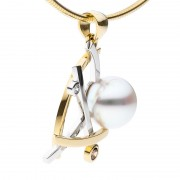 Gold, Diamond and Pearl Pendant - The Athena