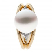 Gold and Diamond Ring With South Sea Pearl - The Bermuda
