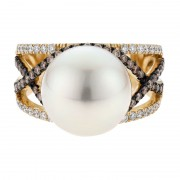 Champagne Diamond Ring With Broome Pearl and Gold - The Pierro