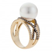 Pearl and Gold Ring With Kimberley Champagne Diamonds - The Pave