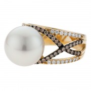 South Sea Pearl Ring With Champagne Diamonds - The Pave
