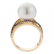 Champagne Diamonds, Pearl and Yellow Gold Ring - The Pierro