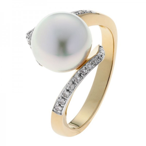 Broome Pearl and Yellow Gold Diamond Ring - The Jupiter