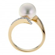 Pearl and Diamond Ring in Yellow Gold - The Jupiter
