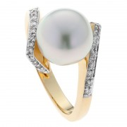 Broome Pearl, Yellow Gold and Diamond Ring - The Jupiter