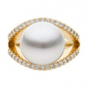 South Sea Pearl Diamond and Yellow Gold Ring - The Dream Dancer