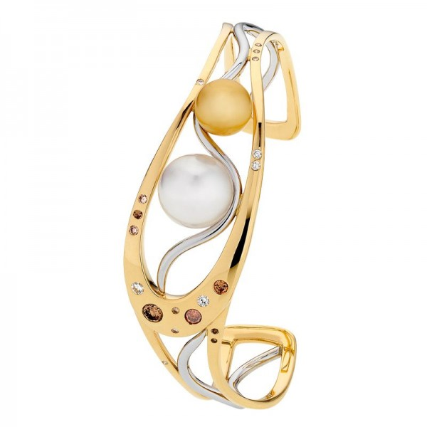 Pearl and Kimberley Diamond Gold Bangle - The Dreamtime