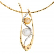 Kimberley Diamond, Gold and Pearl Pendant - The Dreamtine
