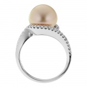 Diamond Ring With Gold Broome Pearl - The Eclipse