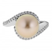 Gold South Sea Pearl Ring With Diamonds - The Eclipse