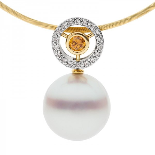 Champagne Diamond and Broome Pearl Necklace - The Orbit