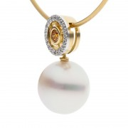 Interchangeable Pearl Necklace With Yellow Diamond - The Orbit