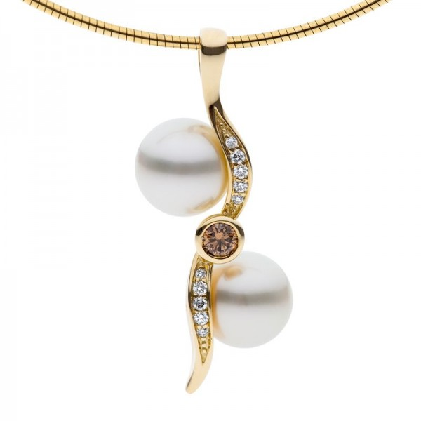 Champagne Diamond Pendant With Pearls - The Kimberley Zephyr