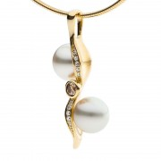 Yellow Gold Pendant With Pearls And Champagne Diamonds - The Kimberley Zephyr