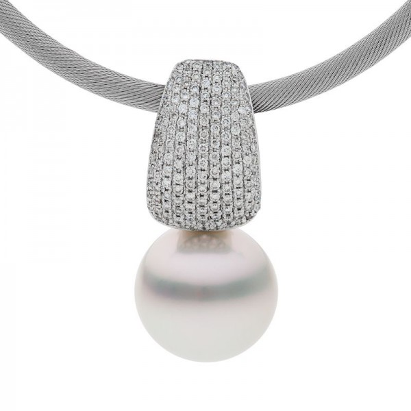 Pearl and White Diamond Pendant - The Monet