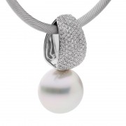 White Diamond and Pearl Pendant - The Monet