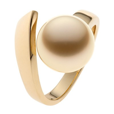 Genuine Gold Pearl Ring In Yellow Gold - The Mystique