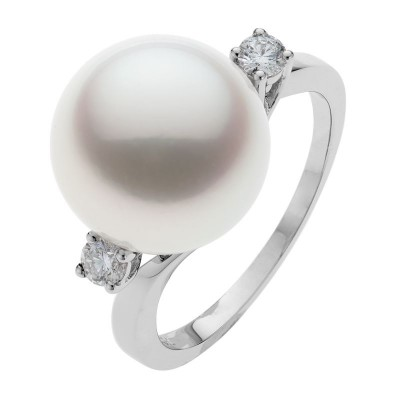 South Sea Pearl Ring In White Gold - The Paris