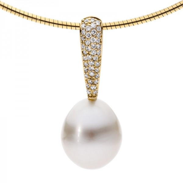 Pearl and Diamond Pendant Yellow Gold - The Pave Apollo