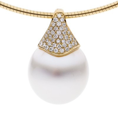 South Sea Pearl Pendant With Diamonds in Yellow Gold - The Pave Essence