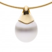 Yellow Gold and Broome Pearl Pendant - The Pave Essence