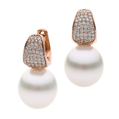 Rose Gold Earrings With Pearls and Diamonds - The Pave Essence