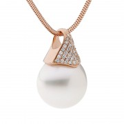 Rose Gold and White Diamond Pearl Pendant - The Pave Essence