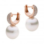 Broome Pearl Diamond Earrings In Rose Gold - The Pave Essence
