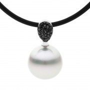 Pearl and Black Diamond Pendant - The Pave Grace