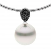 Pearl Pendant With Kimberley Black Diamonds - The Pave Grace