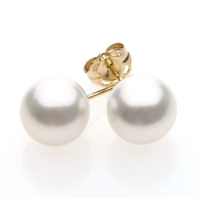 South Sea Pearl Stud Earrings Yellow Gold