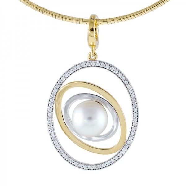 Gold, Diamond and Pearl Pendant - The Saturn