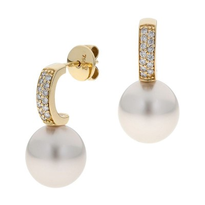 South Sea Pearl Earrings With Diamonds - The Savannah Pave