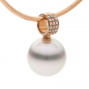 18ct Rose Gold Pearl Pendant - The Savannah Pave