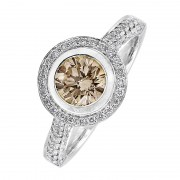 Champagne Diamond Halo Ring - The Serendipity