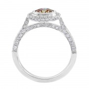 Side View Champagne Diamond Halo Ring - The Serendipity
