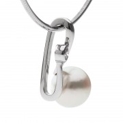 White Gold Pearl Pendant With Diamond - The Spiralis