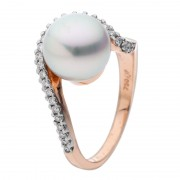 Rose Gold Pearl Ring With Diamonds - The Stella