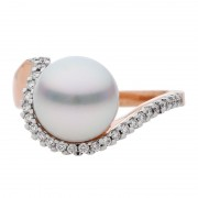 Broome Pearl Ring In Rose Gold With Diamonds - The Stella