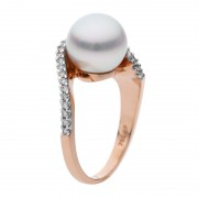 Real Pearl Ring In Rose Gold With Diamonds - The Stella