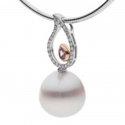 Pearl With Pink Hue Pendant and Diamonds - The Tahlia