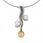 White and Gold Pearl Pendant With Diamonds - The Triple Embrace