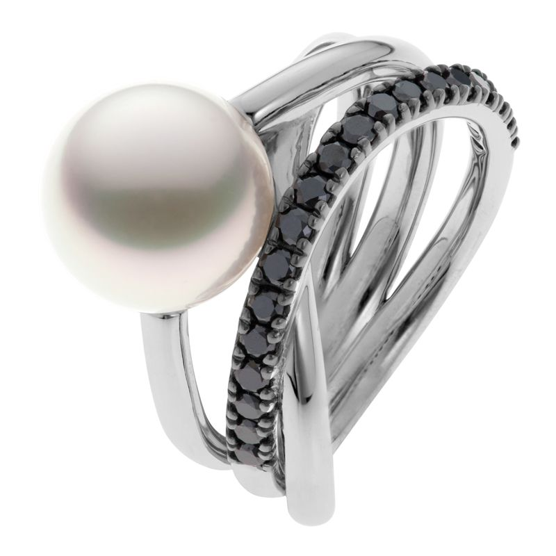 Triple Embrace Pearl Ring With Black Diamonds - White Gold