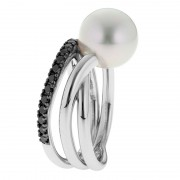 Black Diamond, Pearl and White Gold Ring - The Triple Embrace