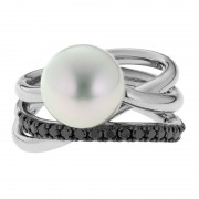 South Sea Pearl Ring With Black Diamonds - The Triple Embrace